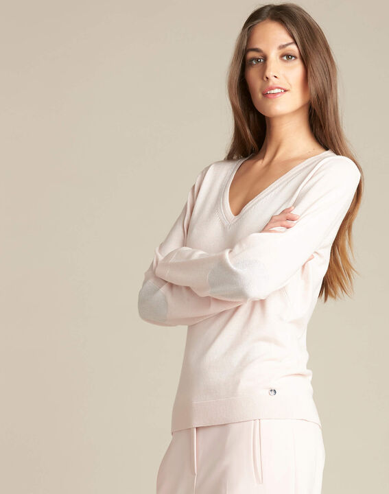 Pull rose pâle encolure brillante laine et soie Newyork (3) - 1-2-3