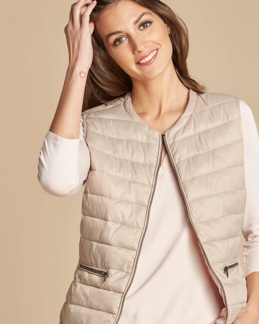 Yvana fine beige sleeveless padded coat (1) - 1-2-3