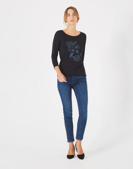 Marineblaues T-Shirt mit Stickerei Bouquet (1) - 1-2-3
