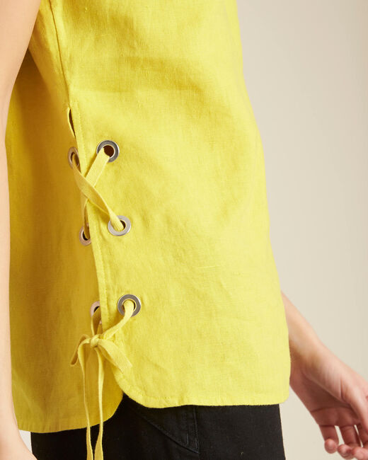 Gally yellow linen T-shirt with lacing (1) - 1-2-3