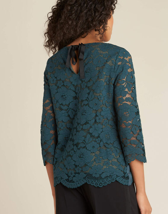 Geraldine forest green blouse with lace (4) - 1-2-3