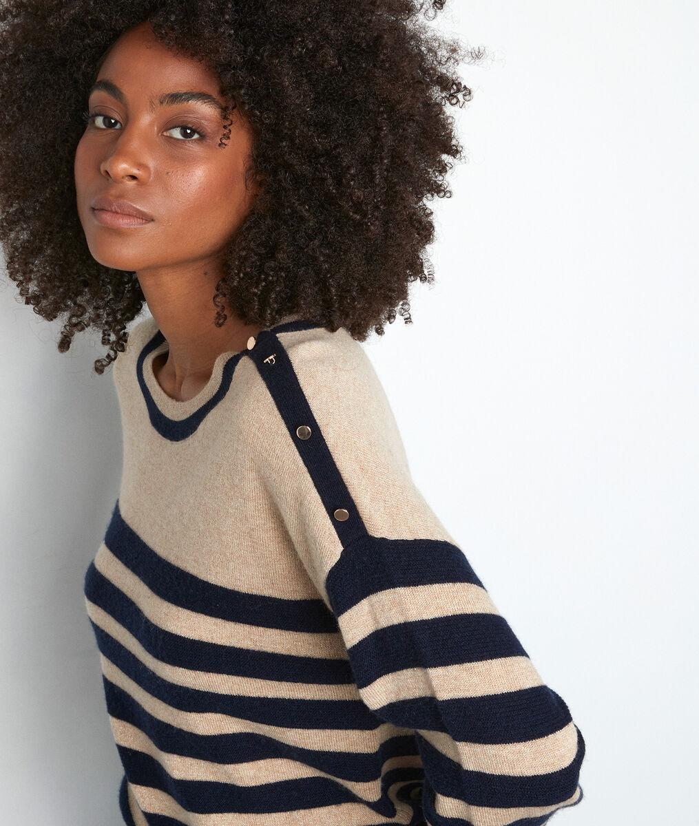 Pull en laine et cachemire rayé beige et bleu Tiffany PhotoZ | 1-2-3