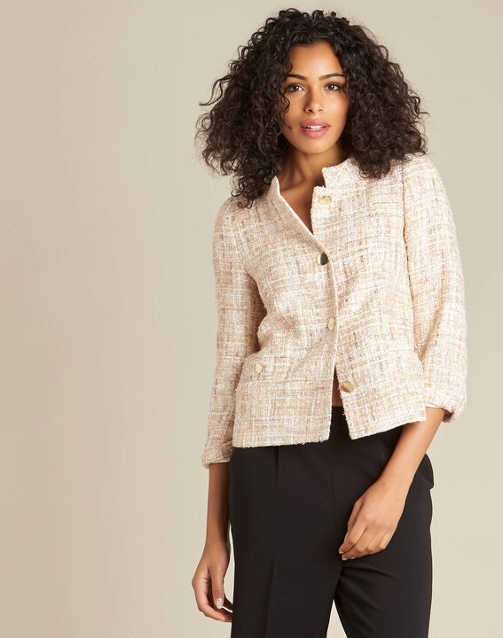 Cookie short cream tweed jacket (3) - 1-2-3