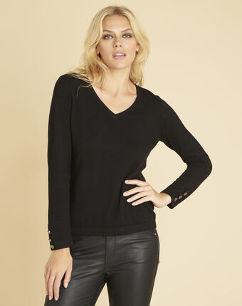 Bet navy cotton mix pullover with narrow v-neckline black.