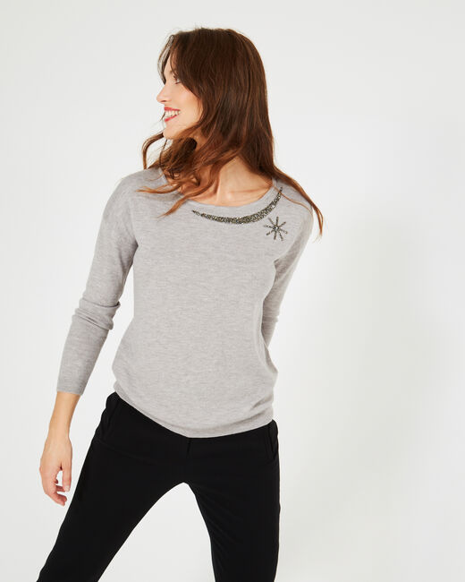 Petrouchka grey sweater adorned with Swarovski crystals (2) - 1-2-3