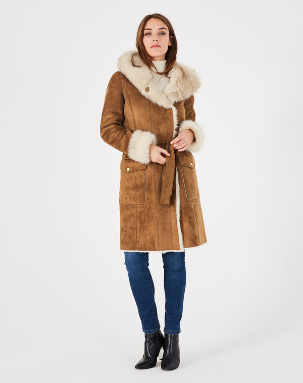 Manteau camel mi-long en peau lainée lemilia à