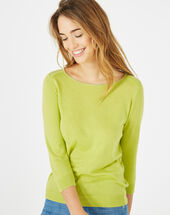 Pétillant aniseed sweater with metallic threading pistachio.
