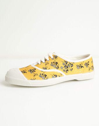 Kassandre cotton flower-printed shirt in yellow corn.