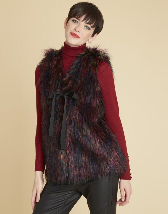Pilou multi-coloured cardigan in faux fur (1) - 1-2-3