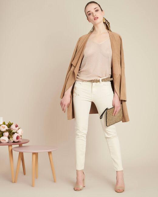 Cremefarbene bestickte Slim Fit-Jeans Vendome (1) - 1-2-3