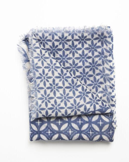 Foulard marine imprimé en laine Felicia (1) - 1-2-3