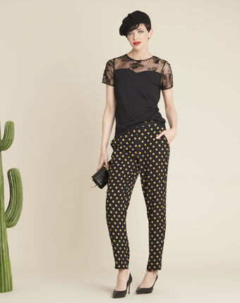 Hypso black trousers with yellow polka dots black.
