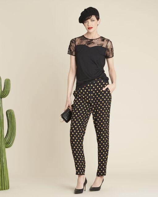 Pantalon noir à pois jaunes Hypso (2) - 1-2-3