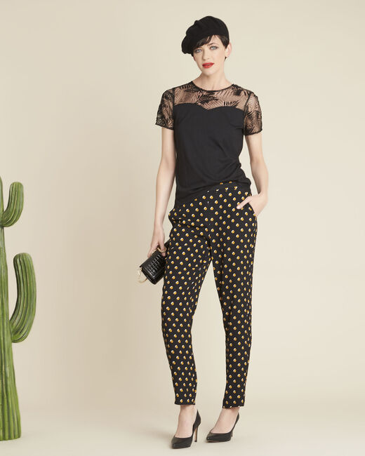 Hypso black trousers with yellow polka dots (1) - 1-2-3