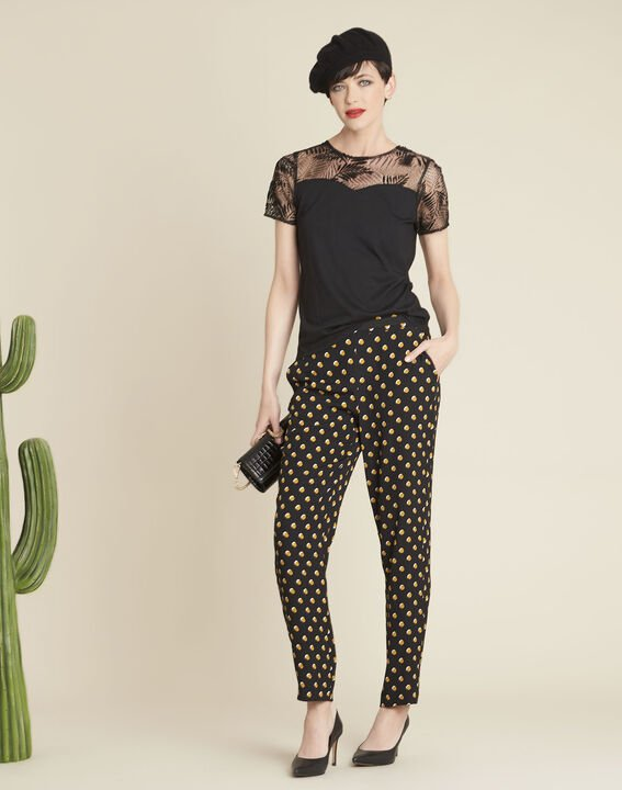 Hypso black trousers with yellow polka dots (2) - 1-2-3