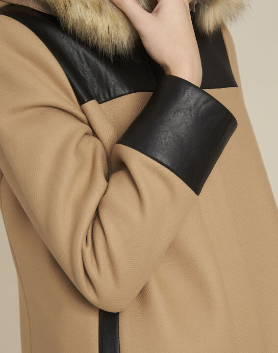 Camelfarbener Mantel mit Kapuze aus Wollgemisch Princesse (3) - 1-2-3