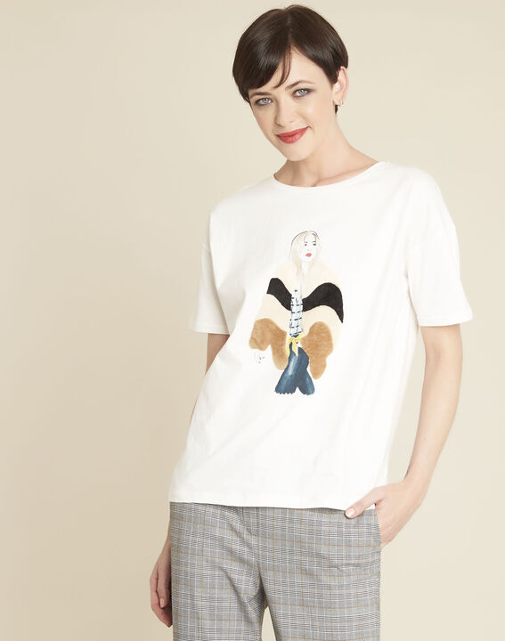 Weißes Baumwoll-T-Shirt mit Motiv Gabrielle PhotoZ | 1-2-3