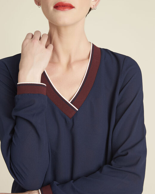 Marineblaue Bluse mit kontrastierendem Ausschnitt Carmen (1) - 1-2-3