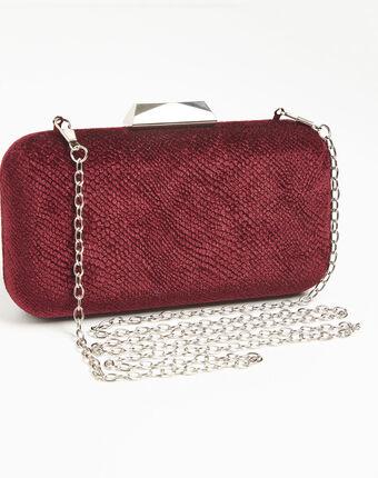 Ines red velvet feel clutch bag bordeaux.
