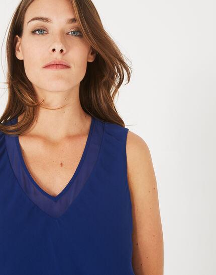 Blaues Volant-Kleid aus Seide Flower (4) - 1-2-3