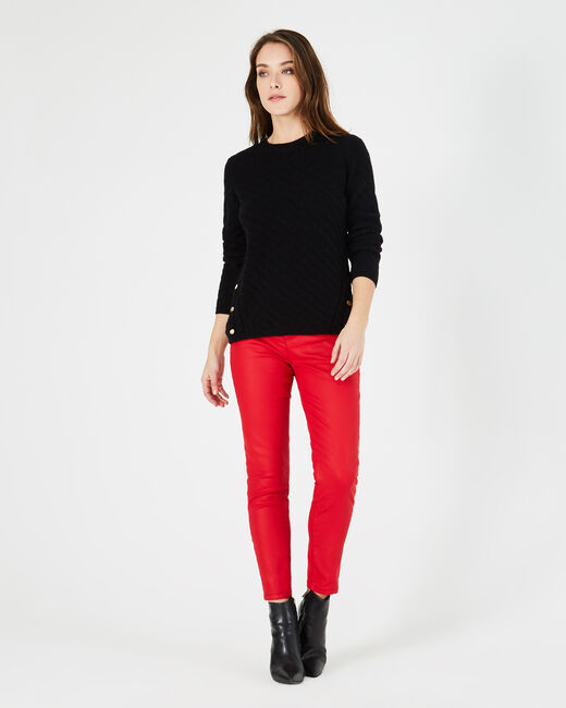 Paco black sweater with rounded neckline and golden buttons (2) - 1-2-3