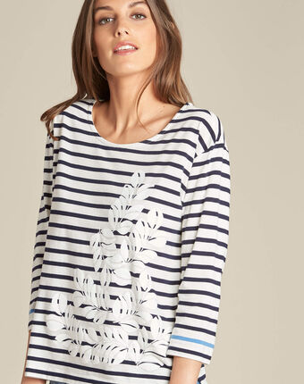 Emerine striped printed t-shirt with 3/4 length sleeves navy.