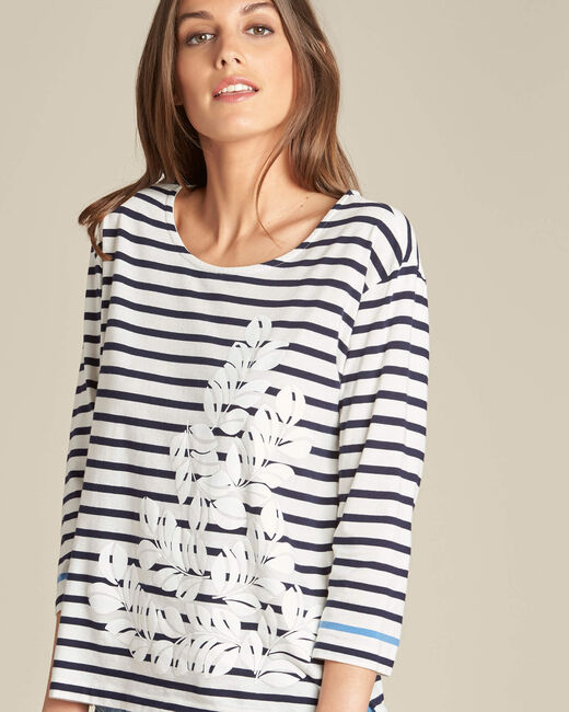 Emerine striped printed T-shirt with 3/4 length sleeves (2) - 1-2-3