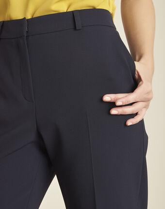 Pantalon marine large 7/8 en microfibre hermane marine.