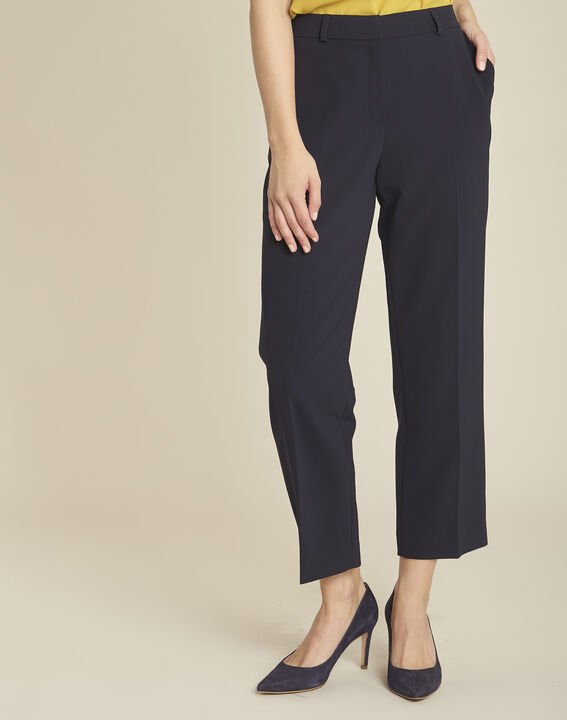 Hermane wide-leg navy 7/8 length trousers (1) - Maison 123