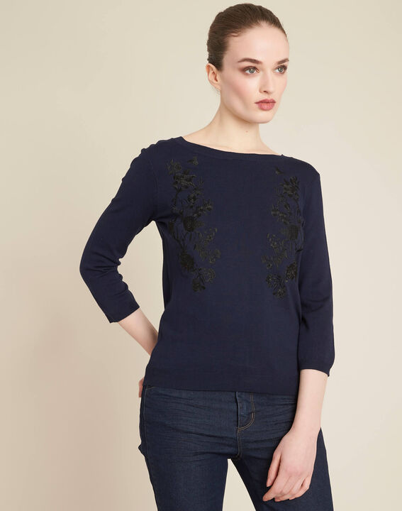 Nouba navy blue embroidered sweater with bow on the back (3) - 1-2-3