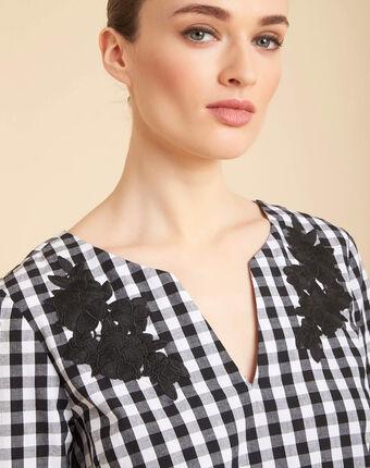 Schwarze karo-bluse mit stickereien gwenaelle schwarz.