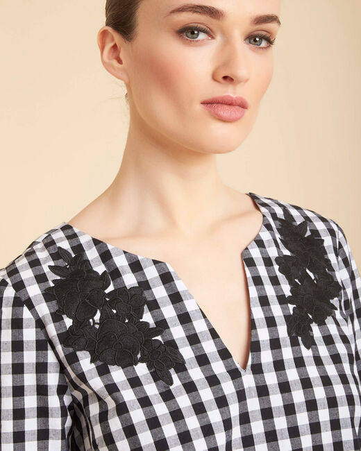 Gwenaelle black check blouse with embroidery (1) - 1-2-3