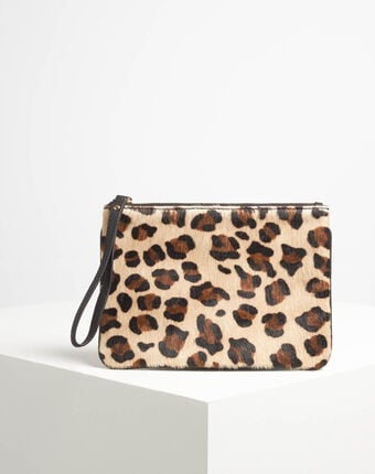 Droopy leopard print clutch with leather straps camel.