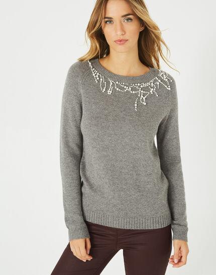 Grauer Pullover aus Woll-Mix mit Perlen Perle (3) - 1-2-3
