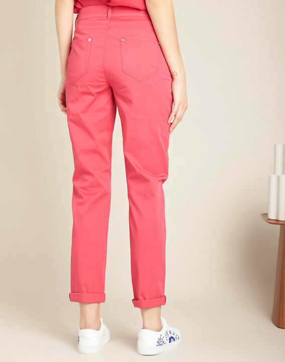 Francis slim-cut belted cotton trousers in fuchsia (4) - 1-2-3