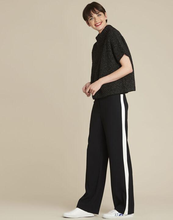 Pantalon noir large bande côté Hirvine (2) - 1-2-3