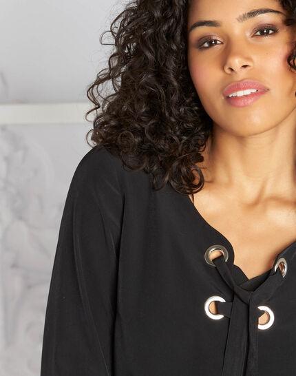 Schwarze Bluse mit V-Ausschnitt Domino (1) - 1-2-3