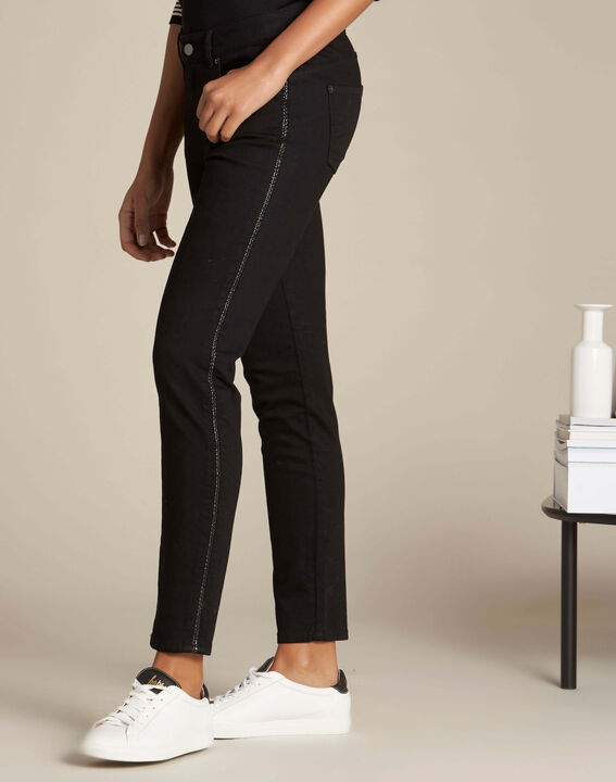 Passy black slim-cut braided jeans (3) - 1-2-3