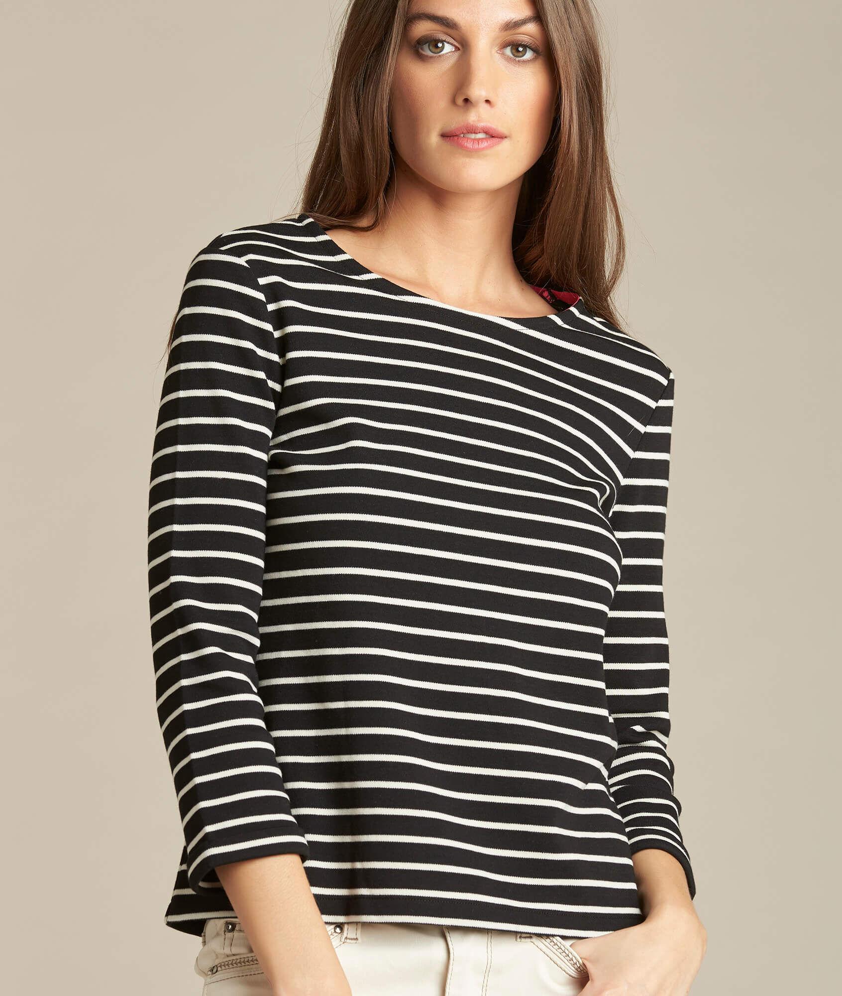 Tee-shirt noir rayé manches 3/4 Escadre (1) - 1-