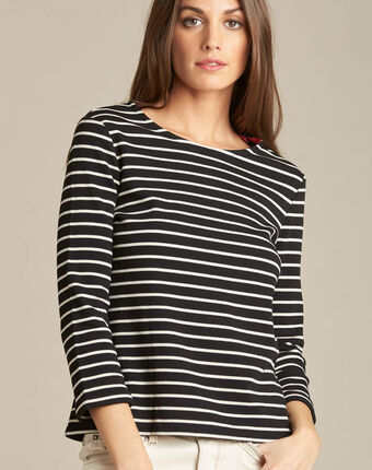 Escadre 3/4 sleeve black striped t-shirt black.