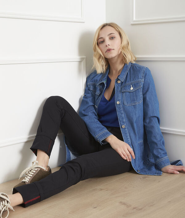 Zwarte slim-fit jeans met omslag Cathy PhotoZ | 1-2-3