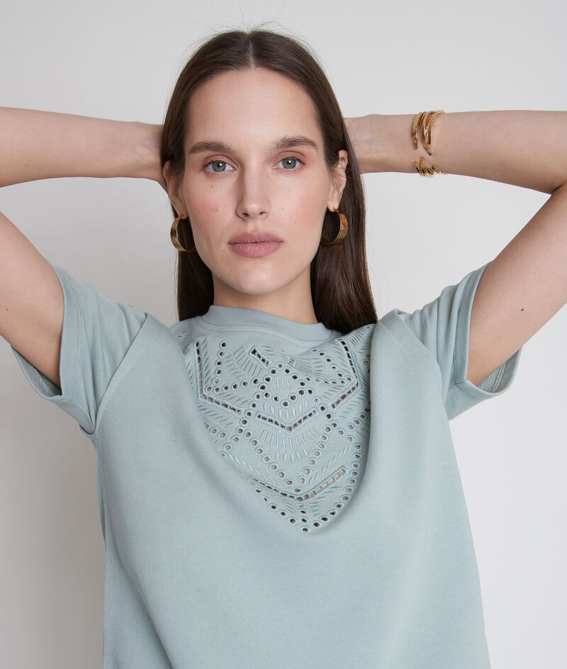 Tee-shirt en coton épais et broderies jade Elsa PhotoZ | 1-2-3