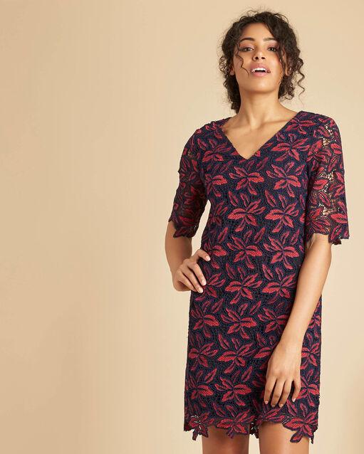 Robe marine guipure fleurie Indy (1) - 1-2-3