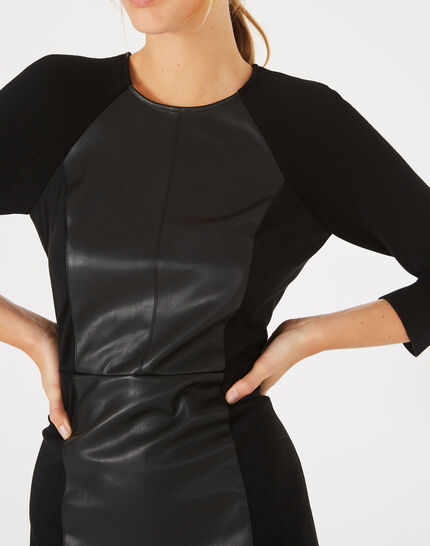 Angie straight-cut dual-fabric black dress (3) - 1-2-3