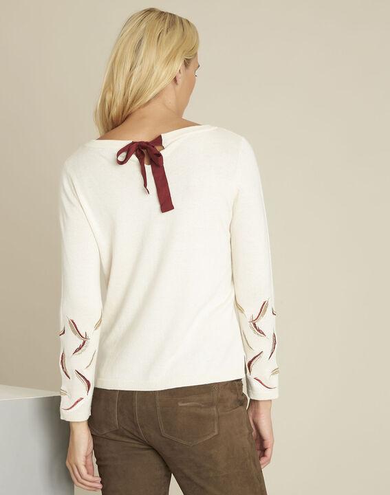 Ecrufarbener Pullover mit Stickerei aus Wollgemisch Birdie (4) - 1-2-3