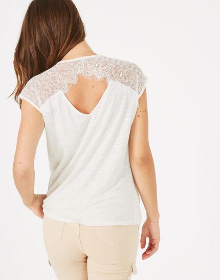 Tee-shirt écru en lin Noha (2) - 1-2-3