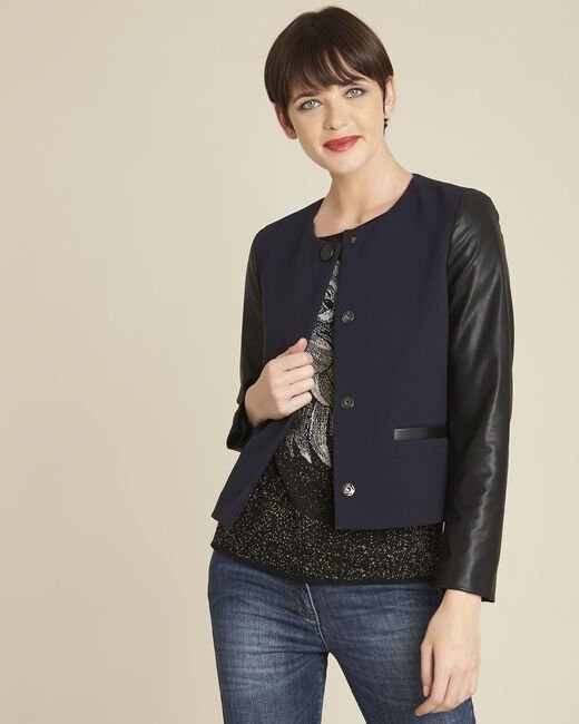 Danae navy jacket with faux leather panel (2) - 1-2-3