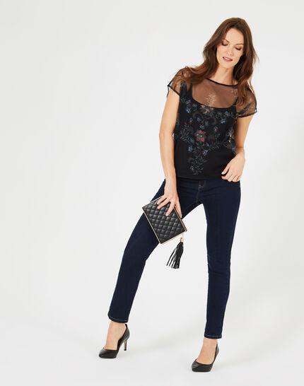 Tee-shirt noir résille broderies fleurs Boost (1) - 1-2-3