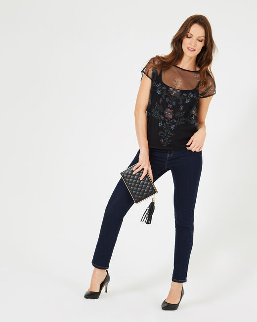 Boost black T-shirt with embroidered flowers and netting details (1) - 1-2-3