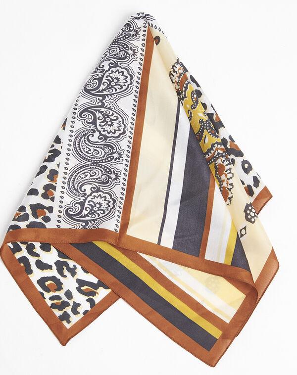 Amberkleurige zijde hoofddoek met dierenprint en grafische print Famy (2) - 37653